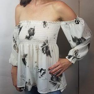 NWT Express off shoulder smocked floral blouse